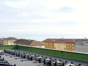 New power generation on new  CSEM building and view of Bernese Alps
