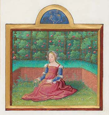 Month of May, from an Album of Calendar Miniatures France, Tours, ca. 1517-20 Illuminated by the Master of Claude de France 74 x 68 mm Purchased as the gift of the Virginia M. Schirrmeister Charitable Lead Trust, Mrs. Alexandre P. Rosenberg, Gifford Combs, James H. Marrow, Melvin R. Seiden, Salle Vaughn, and Sotheby's, and on the E. Clark Stillman Fund, in memory of Charles Ryskamp, 2010; MS M.1171, fol. 5