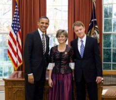President Obama and Swiss ambassador Emanuel Sager, Christine Sager