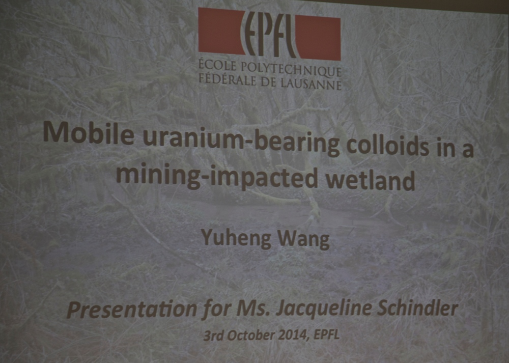 The 4th Zeno Karl Schindler/EPFL Award goes to Dr. Yuheng Wang for his outstanding research about the presence of Uranium in Wetlands (4/6)