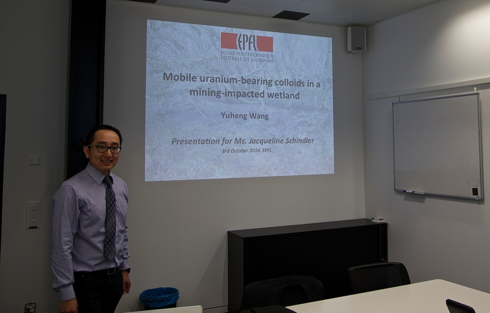 The 4th Zeno Karl Schindler/EPFL Award goes to Dr. Yuheng Wang for his outstanding research about the presence of Uranium in Wetlands (5/6)