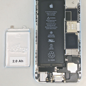 SolidEnergy's prototype stores more energy than the battery in an iPhone 6, even though it is only half the size.