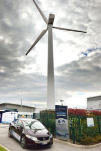 Hydrogen is produced on site from wind-generated electricity at this refuelling station in Yorkshire. ITM Power
