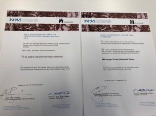 The ZKS/SAGG Award and the ZKS/WalterHaug Grant Diplomas
