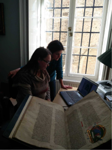 Dr Anna Mazzinghi and Dr Paola Ricciardi analysing the Bury Bible at Corpus Christi College, Cambridge in September 2018