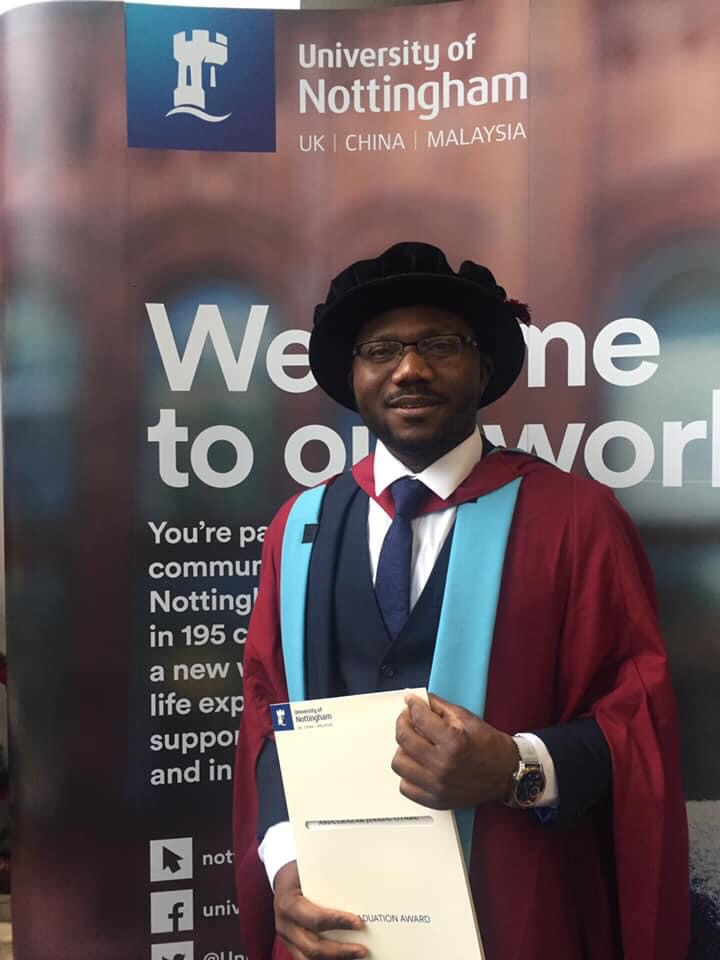 Photo of PHD graduate Dr. Abdulrazak Otaru at University of Nottingham in 2018